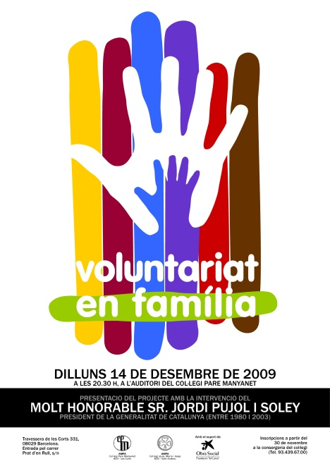Cartell de la presentació del Voluntariat en Famíliadel dia 14 de desembre de 2009.